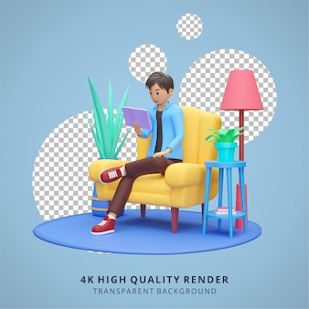 Boy reading on tablet stay at home illustration high quality 3d render