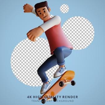 소년 스케이트 보드 마스코트 3d 캐릭터 일러스트
