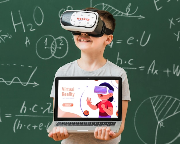 Boy wearing virtual reality headset mock-up