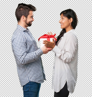Boyfriend giving a gift to his girlfriend