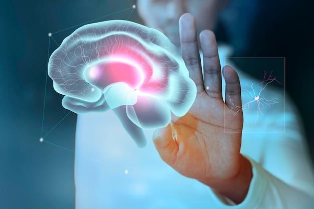 Sfondo di studio del cervello psd per la tecnologia medica di assistenza sanitaria mentale