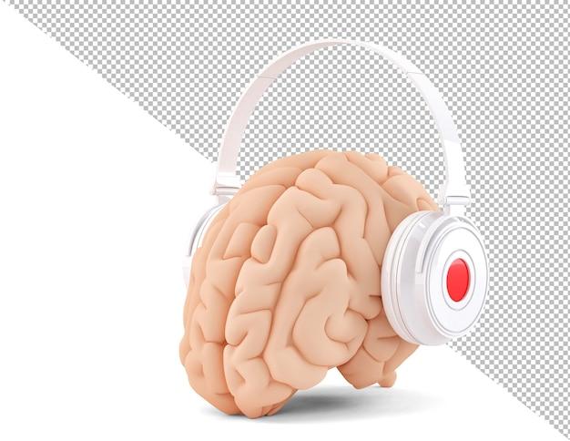 Мозг с наушниками на белом фоне 3d иллюстрация
