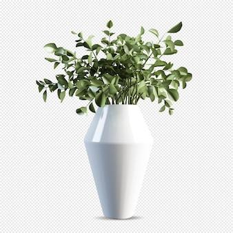 分離された3dレンダリングで花瓶に枝の葉