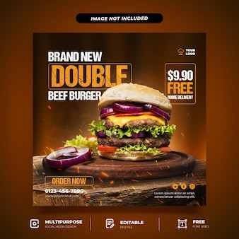 Новый шаблон для социальных сетей burger set Premium Psd