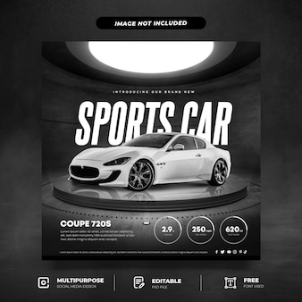 Brand new white coupe social media template