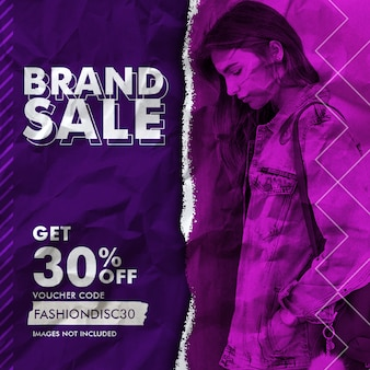 Brand sale social media banner template with papper effect