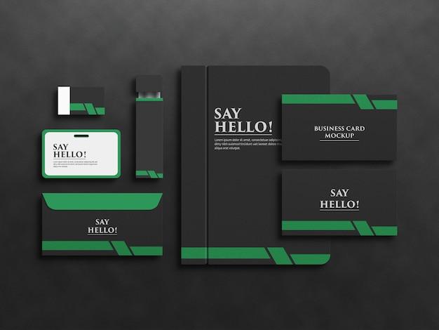 Дизайн макета набора канцелярских принадлежностей бренда