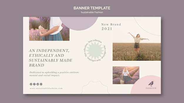 Brand of sustainable fashion banner template