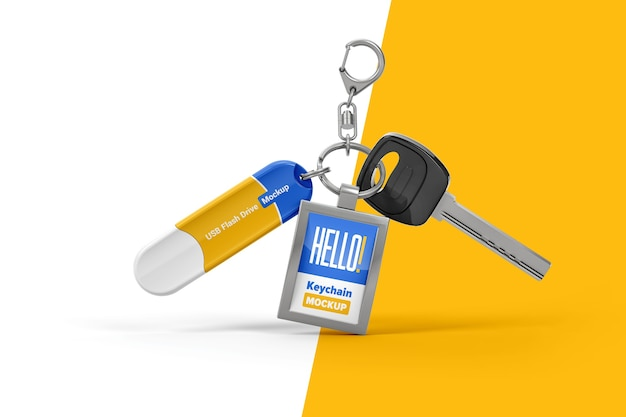 Branded keychain with flash drive mockup