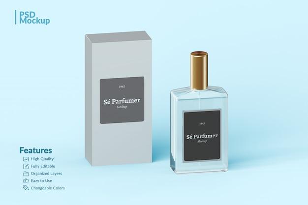 Branded perfume bottle and box editable mockup