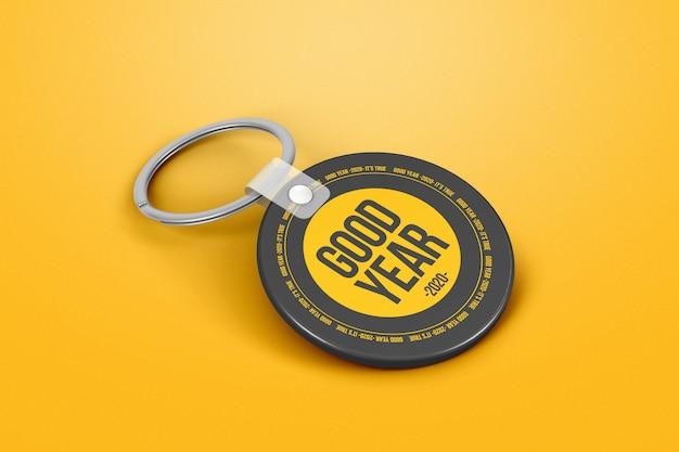 Branding circle keychain mockup