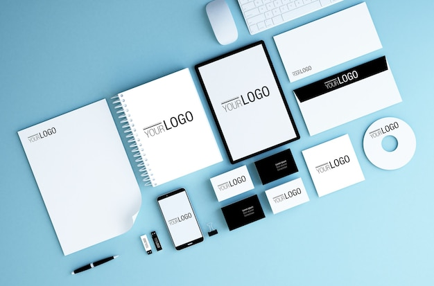 Branding elements and devices mockups