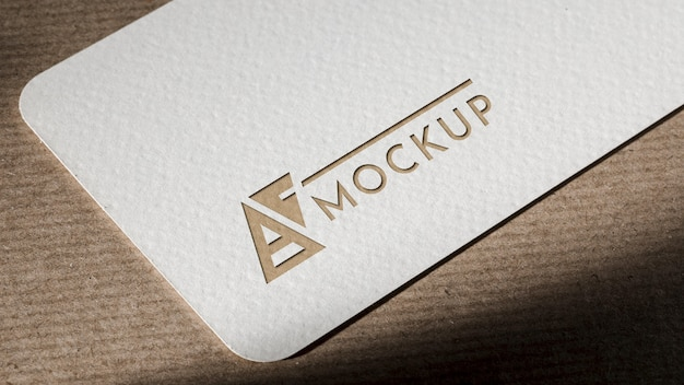 Branding identity business card mock-up on brown background
