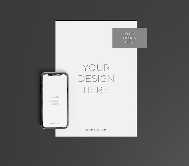 Branding mockup with smartphone, business card and a4 paper top view
