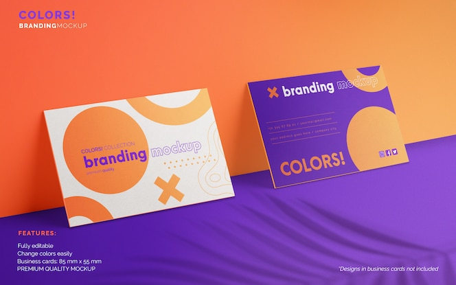 Branding mockup with two business cards