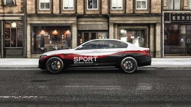 Branding sport car on the street mockup