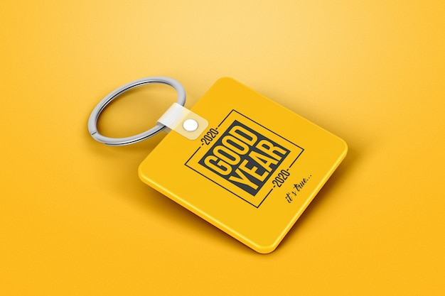 Branding square keychain mockup