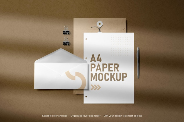 Branding stationery a4 paper and envelope mockup