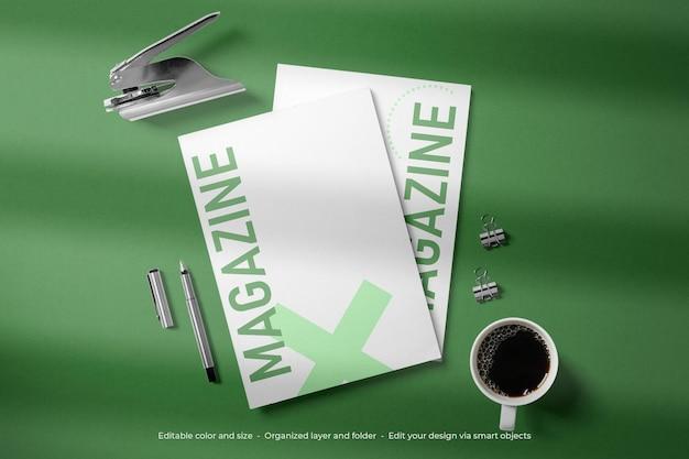 文房具雑誌のブランディング カバー モックアップ