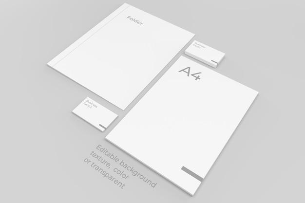 브랜딩 편지지 모형 시트는 폴더와 봉투로 쌓입니다.