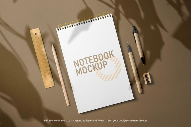 Branding stationery notebook and envelope mockup