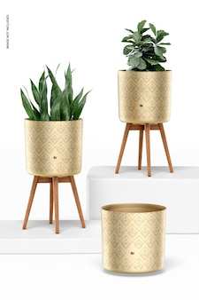 Brass planters with stand set mockup