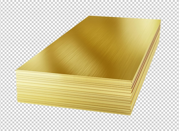 Brass sheets or brass plates isolated 3d rendering