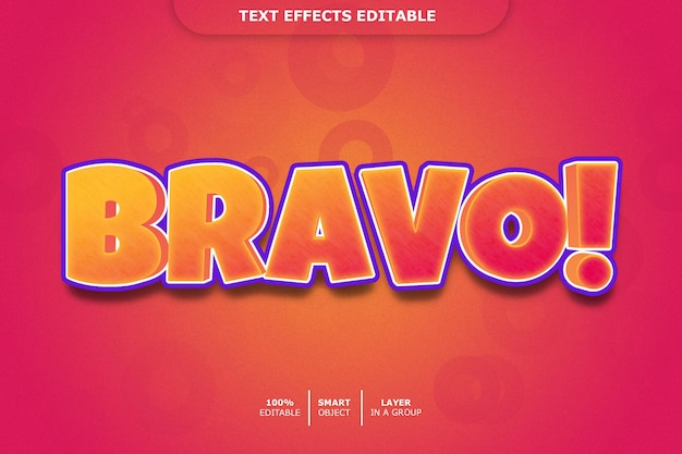 Bravo 3d text effect editable