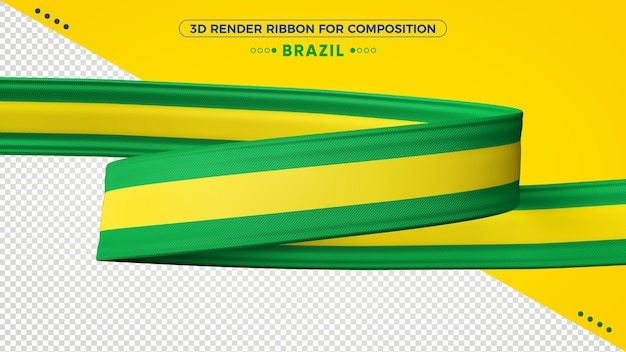 Бразилия 3d визуализации ленты для композиции