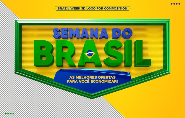 Brazil week 3d render logo for makeup on yellow isolated background