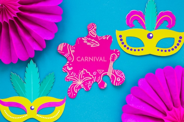 Brazilian carnival cut-out with masks