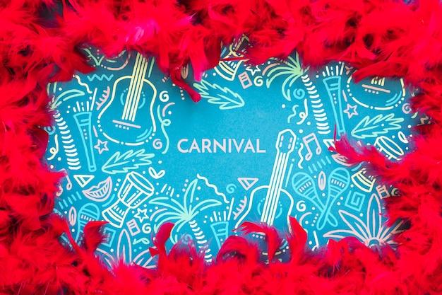 Рамка из бразильских перьев карнавала