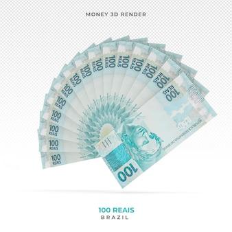 Brazilian money 100 reais 3d render