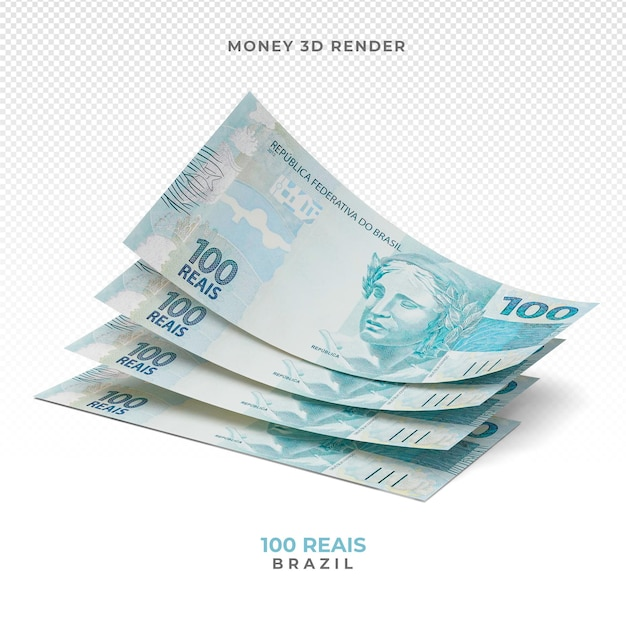Brazilian money 100 reais 3d render