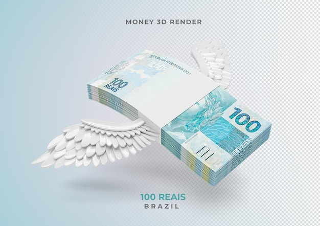 Brazilian money 100 reais with wings 3d render