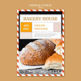 Bread business flyer template design
