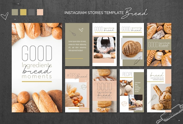 Bread concept instagram stories template