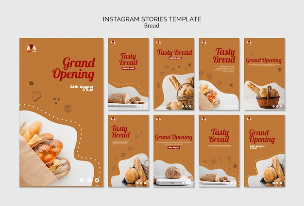 パンのコンセプトinstagramストーリーテンプレート