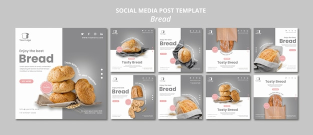 Bread concept social media post template Free Psd
