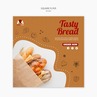 Хлеб концепция квадратный флаер шаблон