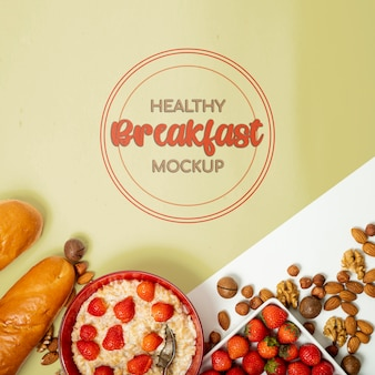 Bread fruit and nuts for breakfast mock-up