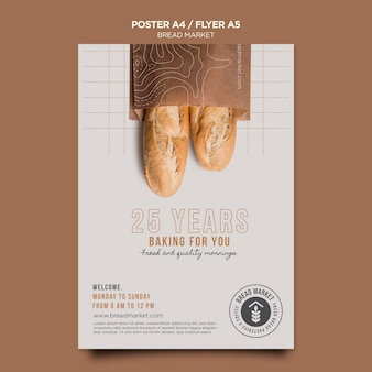 Bread market  flyer template