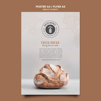 Bread market poster template