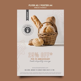 Bread market with discount poster template