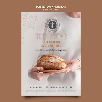 Bread market with logo poster template