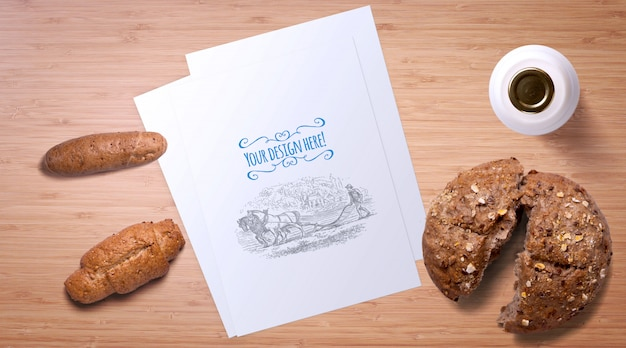 Bread and milk bottle on wooden table mockup