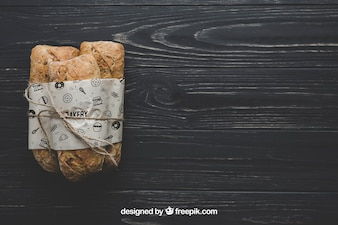 Bread mockup with copyspace