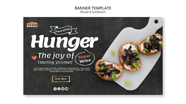 Banner di pane e sandwich