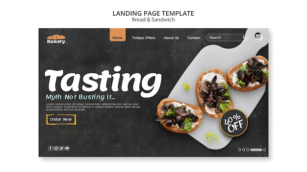 Bread and sandwich landing page