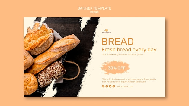 Bread shop banner template